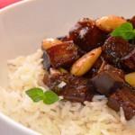 Рис с баклажанами и миндалем