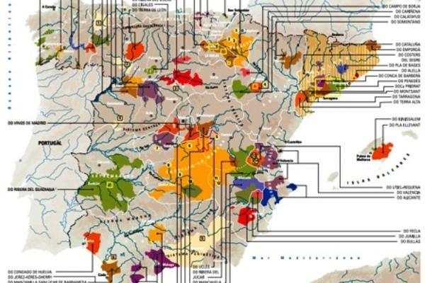 Карта винодельческих регионов Испании