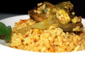 Тушеный рис с артишоками (Cazuela de arroz con alcachofas)